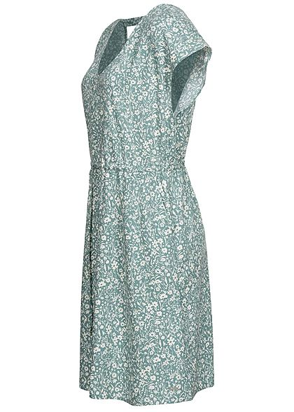 Tom Tailor Damen V-Neck Viskose Kleid Taillengummibund Blumen Muster mineral blau