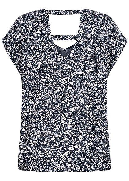 Tom Tailor Damen V-Neck Viskose Blusen Shirt Blumen Muster navy blau