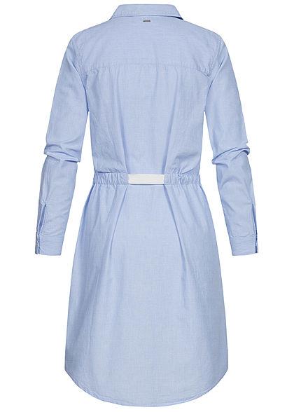 Tom Tailor Damen Denim Turn-up Blusen Kleid inkl. Bindegürtel chambray hell blau