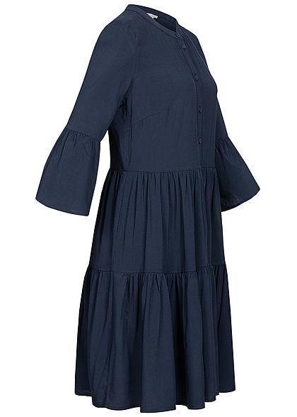Tom Tailor Damen 3/4 Arm Viskose Stufen Kleid sky captain navy blau
