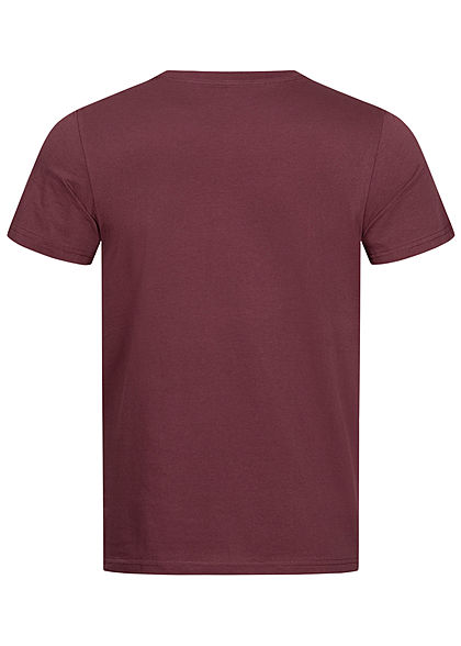 Tom Tailor Herren T-Shirt Logo Print dusty wildberry bordeaux rot weiss