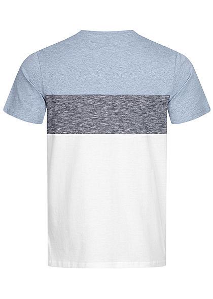 Tom Tailor Herren T-Shirt mit Streifen & einer Brusttasche yonder hell blau weiss