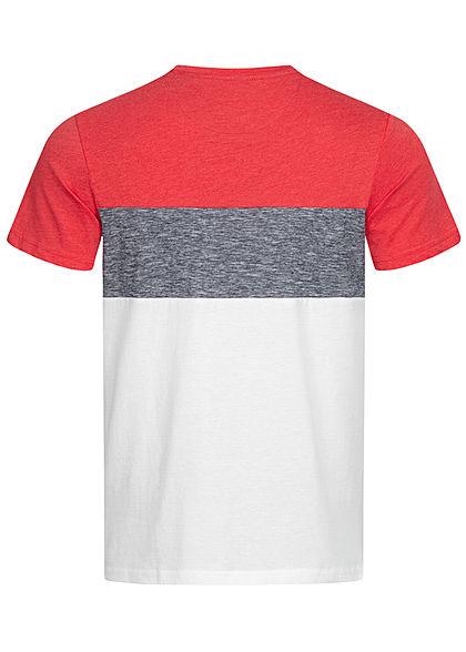 Tom Tailor Herren T-Shirt mit Streifen & einer Brusttasche powerful rot weiss