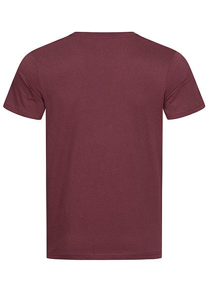 Tom Tailor Herren T-Shirt Logo Print dusty wildberry bordeaux rot schwarz