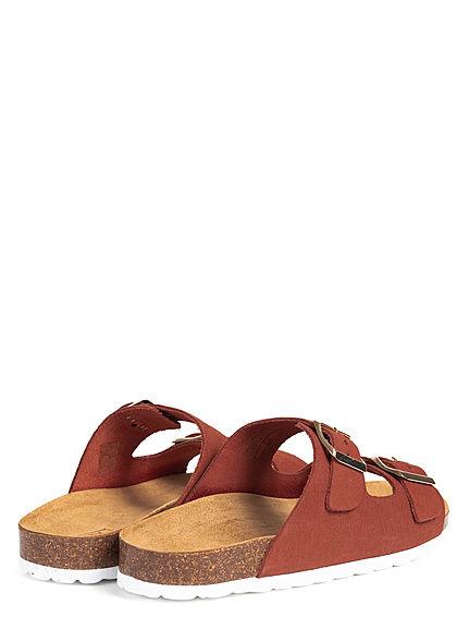 ONLY Damen Schuh Sandale 2er Schnalle Velour Optik rust orange braun