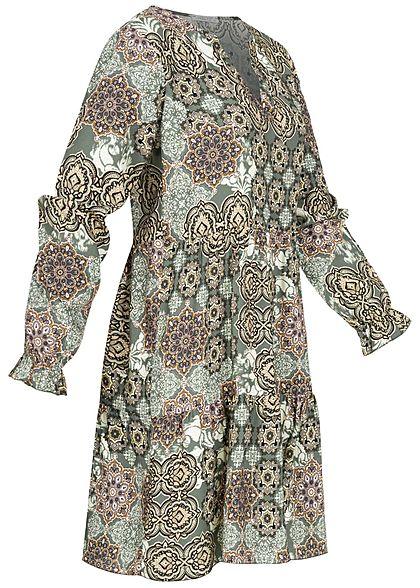 Hailys Damen V-Neck Viskose Puffer Kleid Allover Print khaki grün