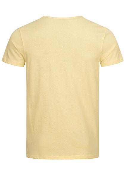 Eight2Nine Herren T-Shirt mit Logo Print creamy gelb