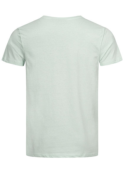 Eight2Nine Herren T-Shirt mit Logo Print pale türkis