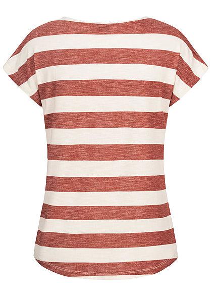 Vero Moda Damen NOOS Viskose Shirt mit Streifen Muster Vokuhila marsala rot weiss