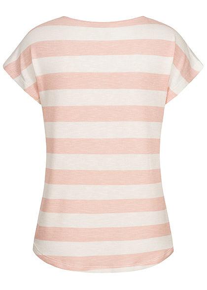 Vero Moda Damen NOOS Viskose Shirt mit Streifen Muster Vokuhila sepia rosa snow weiss