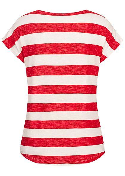 Vero Moda Damen NOOS Viskose Shirt mit Streifen Muster Vokuhila goji berry rot weiss