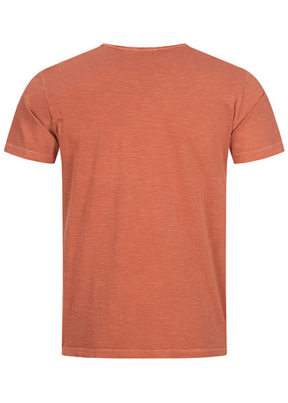 Hailys Herren Basic T-Shirt mit Brusttasche unicolor rust orange braun