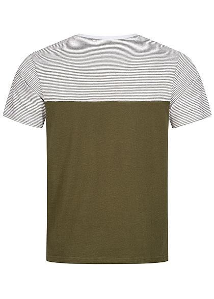 Hailys Herren Basic T-Shirt mit Brusttasche Streifen Muster Colorblock khaki grün