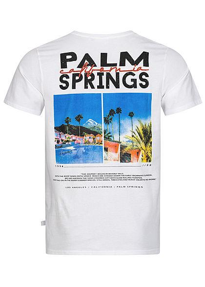 Hailys Herren T-Shirt Palm Springs California Print Rückseite weiss