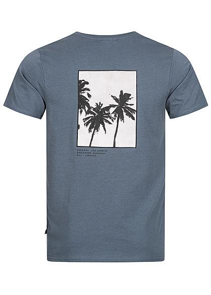 Hailys Herren T-Shirt Reality Palmen Print auf Rückseite blau