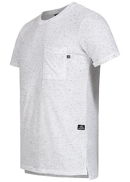 Hailys Herren Basic T-Shirt Brusttasche Punkte Muster weiss schwarz