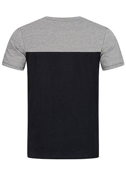 Hailys Herren Basic T-Shirt Brusttasche Wording Print schwarz weiss