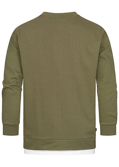 Hailys Herren 2in1 Sweater mit T-Shirt Einsatz khaki grün weiss