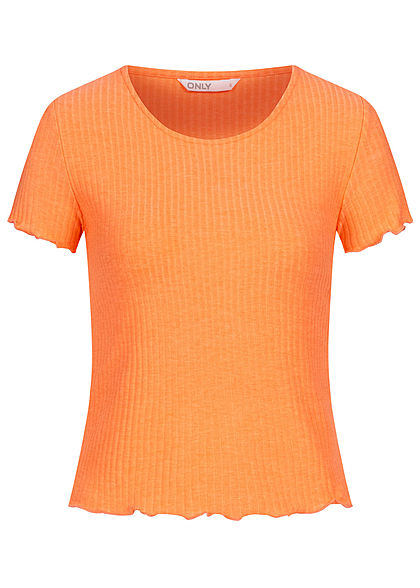 ONLY Damen NOOS Ribbed T-Shirt mit Frilldetails cantaloupe orange