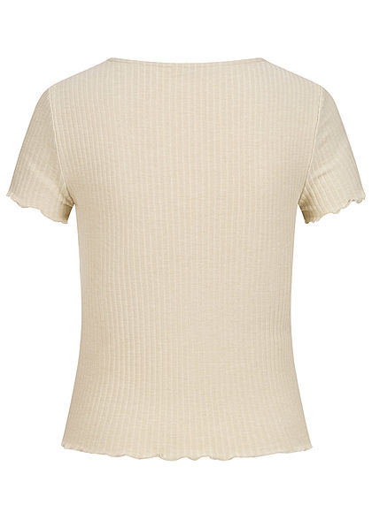 ONLY Damen NOOS Ribbed T-Shirt mit Frilldetails pelican beige