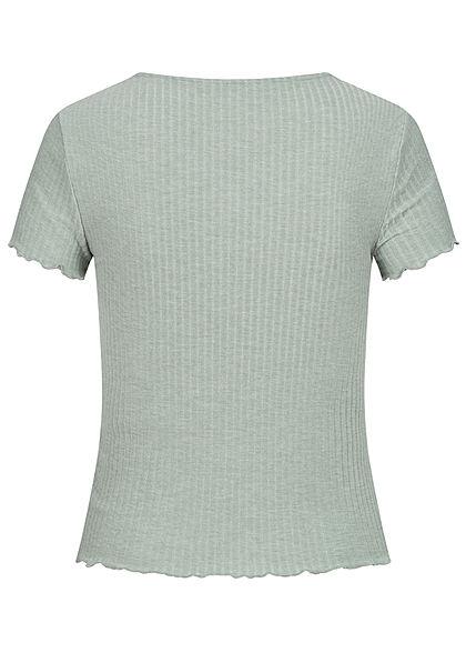 ONLY Damen NOOS Ribbed T-Shirt mit Frilldetails slate gray grün