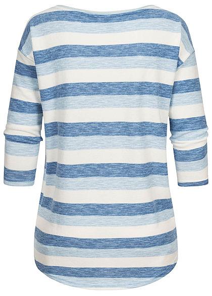 Hailys Damen 3/4 Arm Vokuhila Shirt Streifen Muster hellblau weiss blau