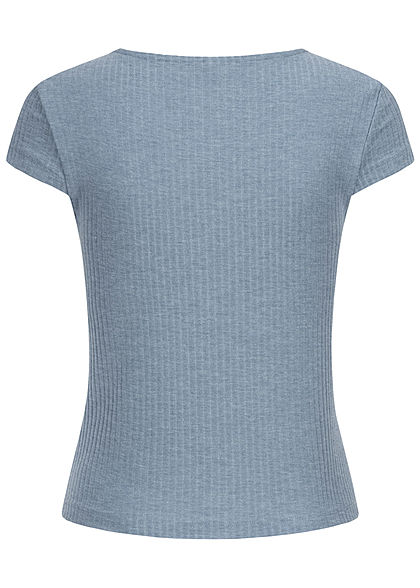 ONLY Damen NOOS Ribbed V-Neck T-Shirt Deko Knopfleiste faded denim blau