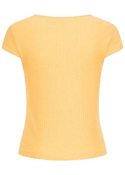 ONLY Damen NOOS Ribbed V-Neck T-Shirt Deko Knopfleiste jojoba gelb