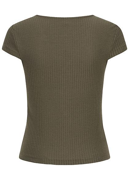 ONLY Damen NOOS Ribbed V-Neck T-Shirt Deko Knopfleiste kalamata oliv grün