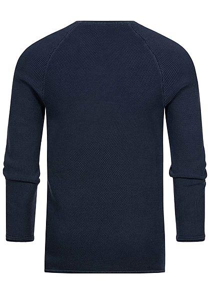 Hailys Herren Struktur Sweater Pullover navy blau