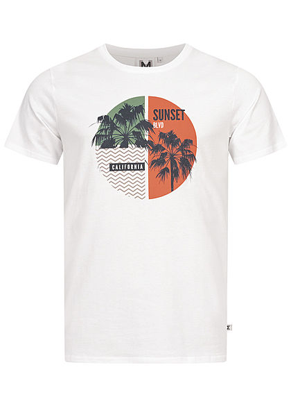 Hailys Herren T-Shirt Sunset California Palmen Print weiss - Art.-Nr.: 21020773