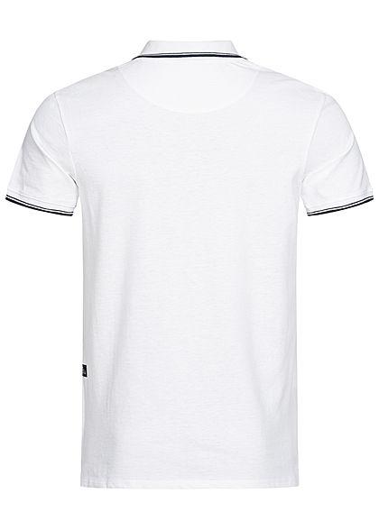 Hailys Herren Basic Polo Shirt mit Kragen weiss schwarz