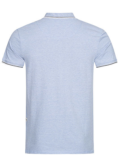 Hailys Herren Basic Polo Shirt mit Kragen marl hell blau