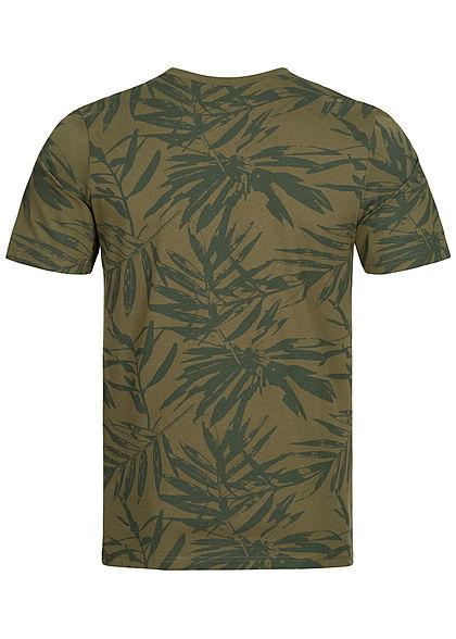 Hailys Herren Basic T-Shirt Tropical Print khaki grün