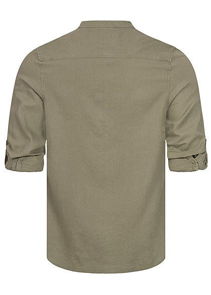 Hailys Herren Turn-Up Linen Hemd Shirt Knopfleiste khaki grün