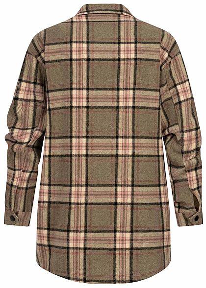 ONLY Damen Oversized Woll Jacke Karo Muster Knopfleiste 2 Brusttaschen balsam grün