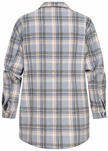 ONLY Damen Oversized Woll Jacke Karo Muster Knopfleiste 2 Brusttaschen cashmere blau
