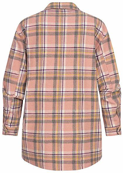 ONLY Damen Oversized Woll Jacke Karo Muster Knopfleiste 2 Brusttaschen smoke rosa