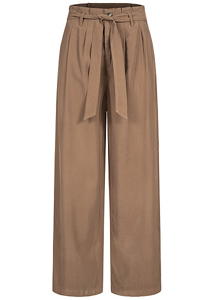 ONLY Damen Paperbag Culotte Stoffhose inkl. Bindegürtel 2-Pockets walnut braun - Art.-Nr.: 21020795