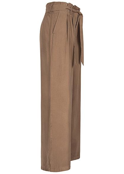 ONLY Damen Paperbag Culotte Stoffhose inkl. Bindegürtel 2-Pockets walnut braun