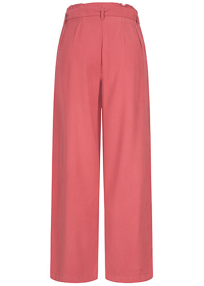 ONLY Damen Paperbag Culotte Stoffhose inkl. Bindegürtel 2-Pockets baroque rosa