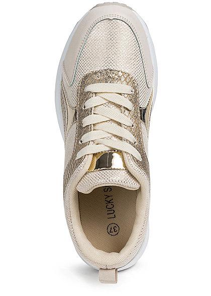 Seventyseven Lifestyle Damen Schuh Kunstleder Sneaker Snake Optik zum schnüren gold