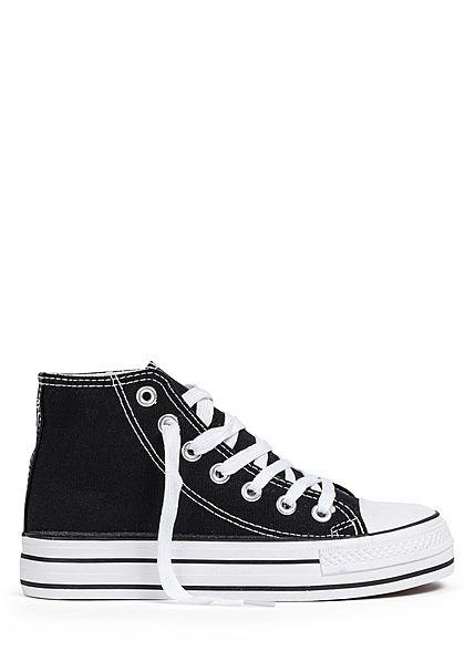 Seventyseven Lifestyle Damen Schuh 2-Tone Canvas Sneaker hohe Sohle 3,5cm schwarz