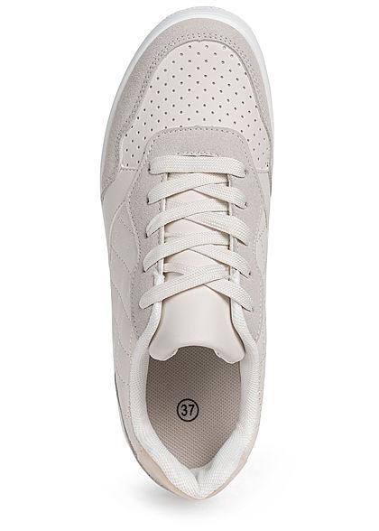 Seventyseven Lifestyle Damen Schuh Kunstleder Plateau Sneaker hell grau beige