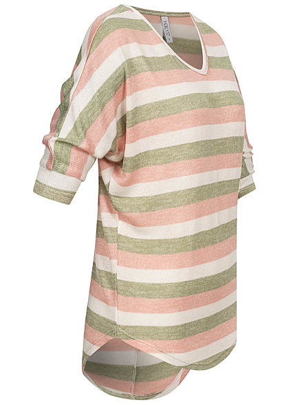 Hailys Damen V-Neck 3/4 Arm Shirt Streifen Muster multi grün beige weiss