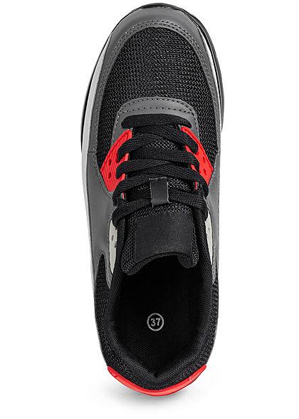 Seventyseven Lifestyle Damen Schuh Sneaker zum schnüren Coloblock schwarz grau rot