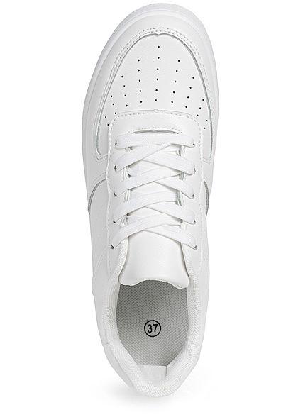 Seventyseven Lifestyle Damen Schuh Kunstleder Plateau Sneaker Sohle 4cm weiss