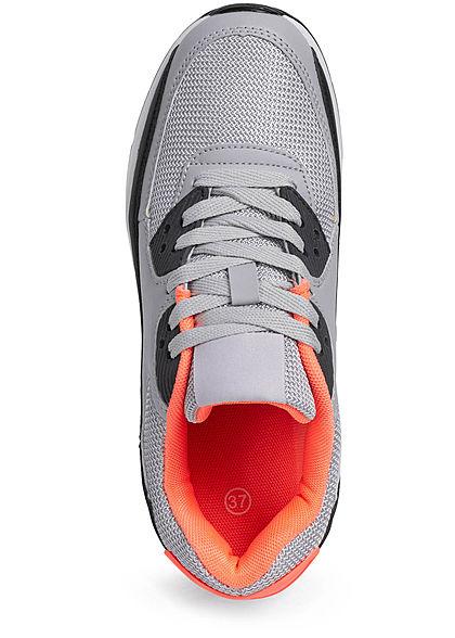 Seventyseven Lifestyle Damen Schuh Sneaker zum schnüren Coloblock grau orange schwarz