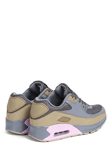 Seventyseven Lifestyle Damen Schuh Sneaker zum schnüren Coloblock d. grau beige rosa