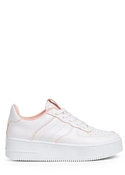 Seventyseven Lifestyle Damen Schuh Kunstleder Plateau Sneaker Sohle 4cm weiss rosa